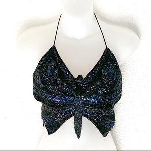 Cache Silk Embellish Beaded Butterfly Crop Top XS